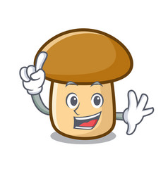 Finger porcini mushroom mascot cartoon vector
