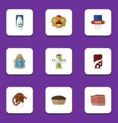 flat icon meal set of tart packet beverage beef vector image