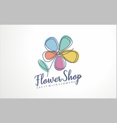 flower shop logo sign icon vector image