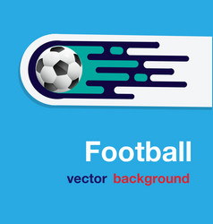 football flying soccer ball blue background vector image