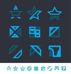 Geometric logo elements icon set vector