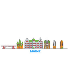 Germany mainz line cityscape flat travel vector