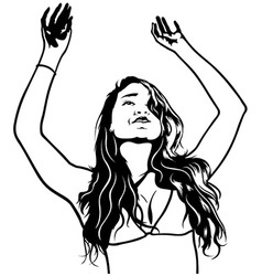 Girl with Hands Up vector
