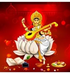 Goddess of wisdom saraswati for vasant panchami vector