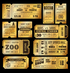 Golden tickets old gold admission vip ticket of vector