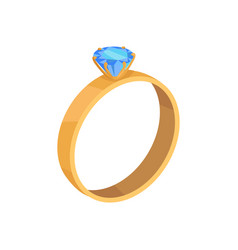 Golden wedding ring with blue diamond icon vector