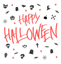 Hallween card lettering and icon vector