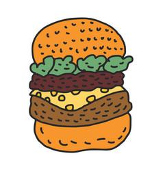 hamburger drawing isolated big burger cartoon vector image