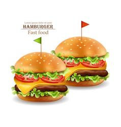 Hamburgers realistic cheese and tomatoes vector