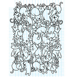 Hand drawing cute doodle cats groupflat design vector