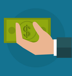 hand with bills dollar money icon vector image
