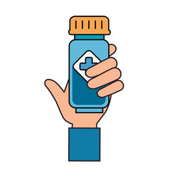 hand with bottle drugs isolated icon vector image
