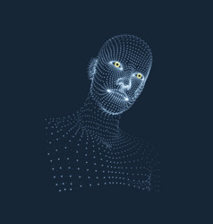 Head person from a 3d grid geometric face vector