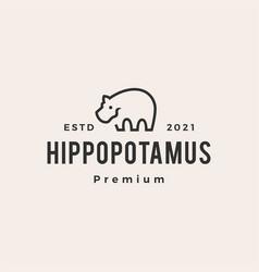 Hippopotamus hipster vintage logo icon vector