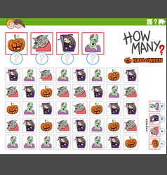 How many cartoon halloween characters counting vector