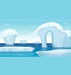 ice rocks background north pole landscape white vector image