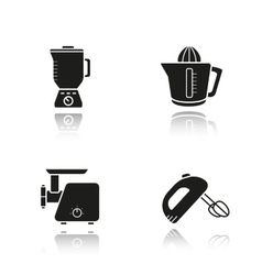 Kitchen tools drop shadow black icons set vector image