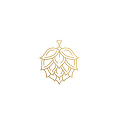 Linear icon hop flower hand drawn with thin vector