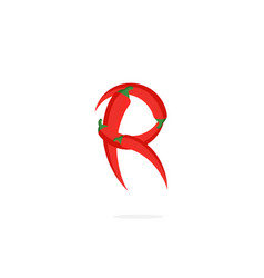 Logo red chili pepper letter r vector