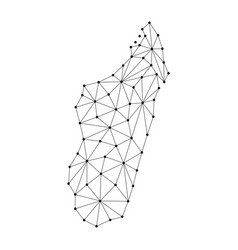 Madagascar map of polygonal mosaic lines network vector