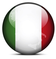 Map on flag button of Italian Republic Italy vector image