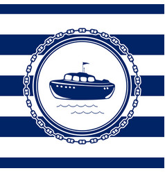 marine emblem with a lifeboat vector image