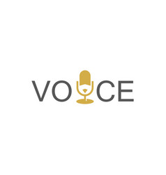Microphone voice logo vector