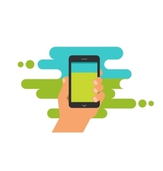 Mobile phone game app hand with smartphone vector