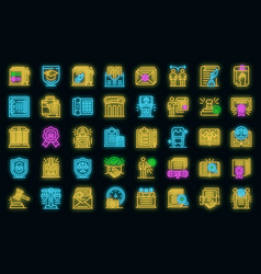 notary icons set neon vector image