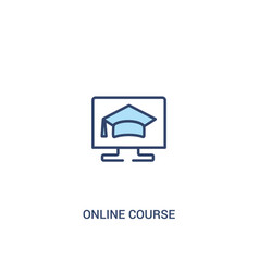 Online course concept 2 colored icon simple line vector
