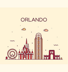 orlando skyline florida usa linear style vector image