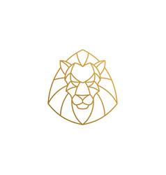 outline emblem geometric lion head hand drawn vector image