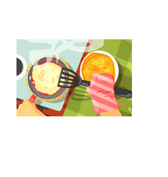 Pancakes cooking color vector