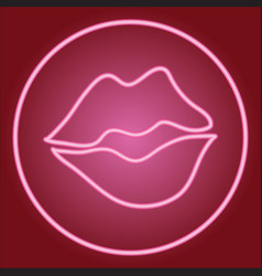 Partially closed lips in a neon circle vector