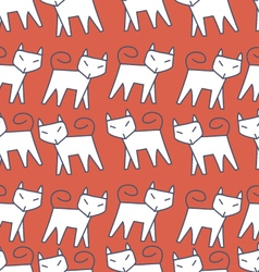 Pattern white cat vector