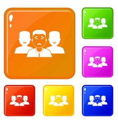 people group icons set color vector image