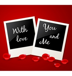 Photo and red rose petals vector