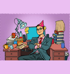 pop art businessman birthday workplace vector image