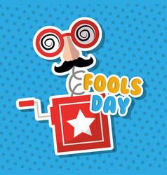 Prank box surprise mask mustache glasses fools day vector