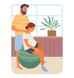 Pregnancy preparing wife and husband make vector