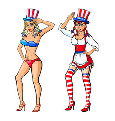 pretty girl wearing red white and blue bikini vector image