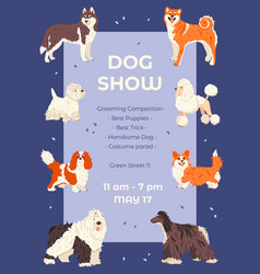 Promo poster template dog show flat vector