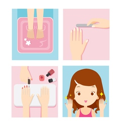 Relaxing Girl In Nail Salon Set vector