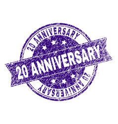 scratched textured 20 anniversary stamp seal vector image