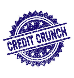Scratched textured credit crunch stamp seal vector