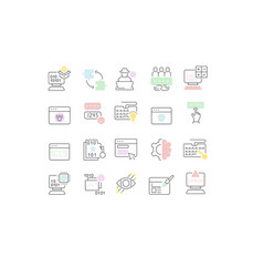 set line icons programming vector image