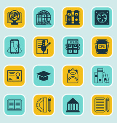 Set of 16 education icons includes academy vector