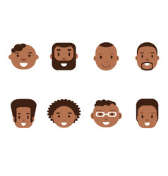 set of african american male avatars flat style vector image