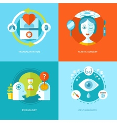 Set of flat design concepts for medical icons vector image