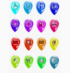 set of map icons vector image